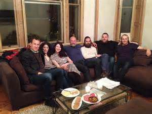 This is the Cast and Crew over for drinks and snacks in my living room.   I paid them $500,000 each to attend.  Ron D. Moore and Angus refused. I WAS CRUSHED.